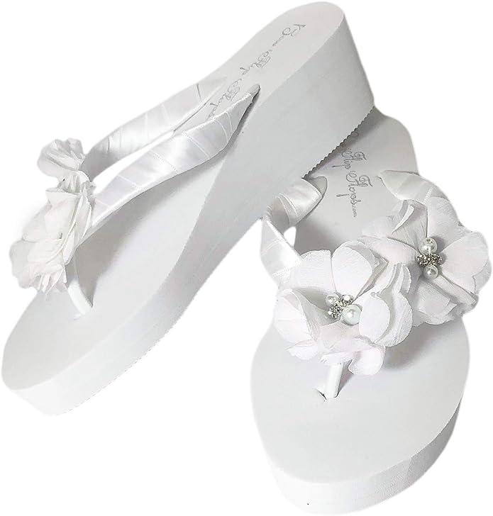 Infinity Circle Mrs Strap Satin Wedge Flip Flops Ivory or White