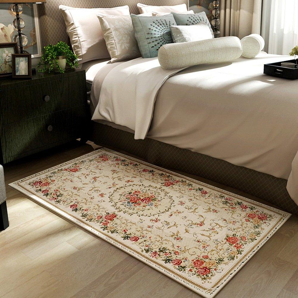 European Modern Country Style Jacquard Rug Bedroom Bedside Living Room Bathroom Entry Skid-resistant Rug Washable Floor Pad ( Color : 100150cm-b )