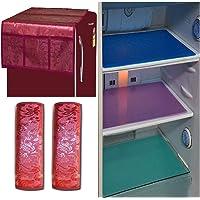 Unique Productions™ Combo of Maroon Refrigerator Cover(1 Piece), Fridge Handle Cover(2 Piece) & Fridge Mat(3 Pieces)(Color-Multi, Size- Standard)
