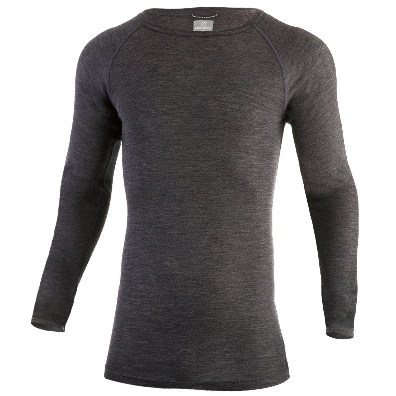 MERIWOOL Mens Merino Wool Lightweight Form Fit Baselayer Pullover Top - Medium