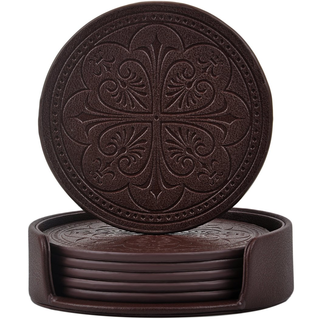 365park Coasters, PU Leather Drink Coasters Set of 6 with Holder Rose Embossed Coaster-Protect Furniture From Water Marks(Z013-Coffee) Z013*Coffee