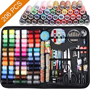 Large Sewing Kit, 206 Pcs Premium Sewing Supplies, Anti-Scratch Durable 600D Oxford Fabric Sewing Kits for Adults, Sewing Kits Set Suitable for Traveller, Emergency, Beginner, Kids, Home and DIY