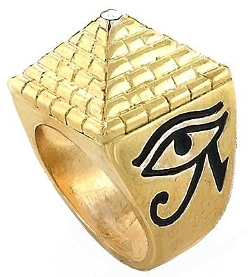 Amazon Mens Gold Tone Full Metal Eye of Horus Pyramid Ring
