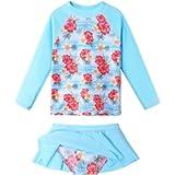 Girls Long Sleeve Swimsuit Two Piece UPF 50+ Floral Rashguard Beachwear