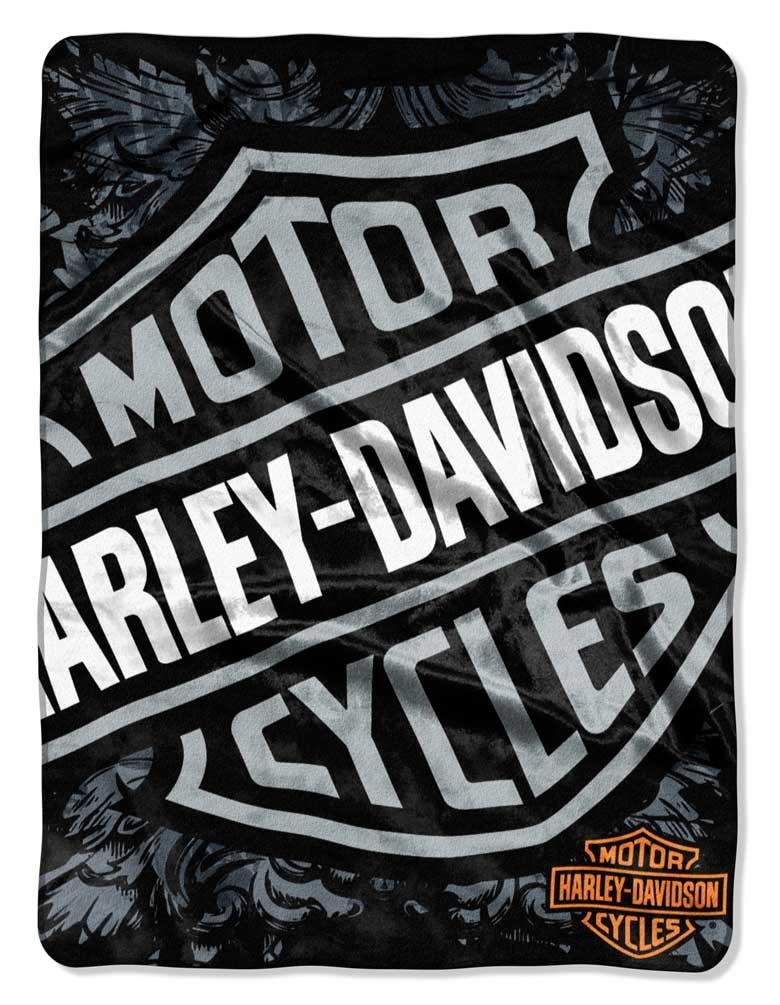 Harley-Davidson Street Crest Royal Plush Raschel Throw