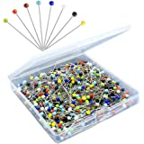 500PCS Sewing Pins for Fabric, Straight Pins with Colored Ball Glass Heads Long 1.5inch, Quilting Pins for Dressmaker, Jewelr