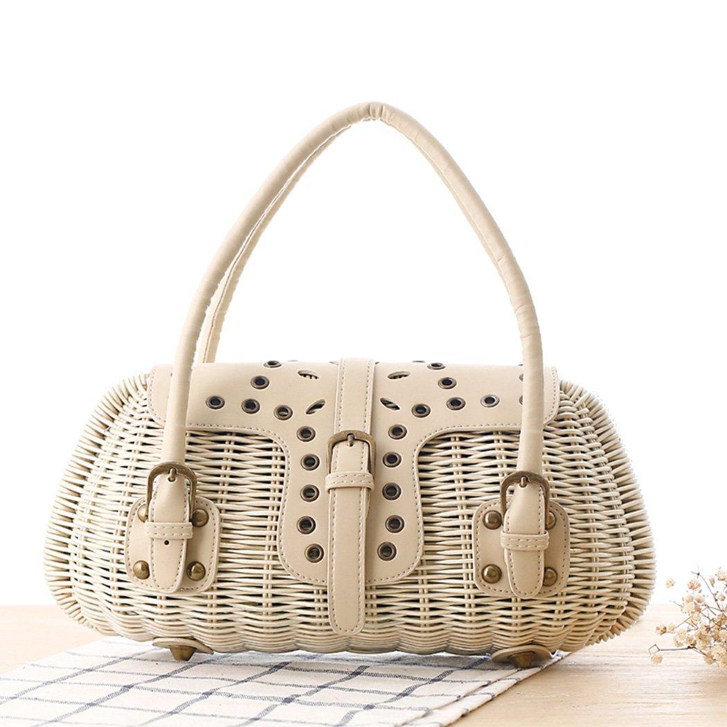 FAIRYSAN Medium-sized Pillow Shaped Basket Bag Top Handle Bag with Buckle