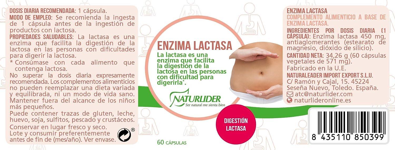 Naturlíder Lactasa - Suplementos para Salud Digestiva - 60 cápsulas: Amazon.es: Salud y cuidado personal
