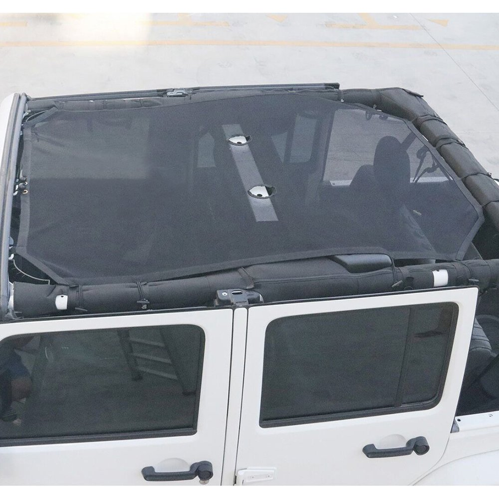 JL-2Door, Pure1 Front Eclipse Sunshade Mesh Shade Bikini Top Cover with USA Flag by Drizzle Provides UV Sun Protection for 2018 2019 Jeep Wrangler 2 Door Soft Top