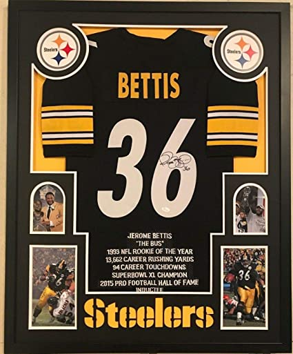 d19f12229b7 Image Unavailable. Image not available for. Color: FRAMED JEROME BETTIS  AUTOGRAPHED SIGNED PITTSBURGH STEELERS STAT JERSEY ...