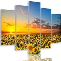Feeby Frames, Quadro multipannello di 5 pannelli, Quadro su tela, Stampa artistica, Canvas PRATO, FIORI, GIRASOLE, CIELO, NATURA, PAESAGGIO, GIALLO