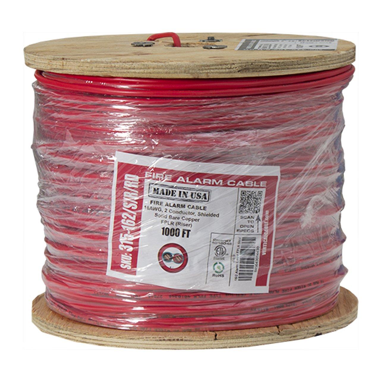 Vertical Cable Fire Alarm Cable, 16 AWG, 2 Conductor, Solid, Shielded, FPLR (Riser), 1000ft Spool, Red - Made in USA by Vertical Cable