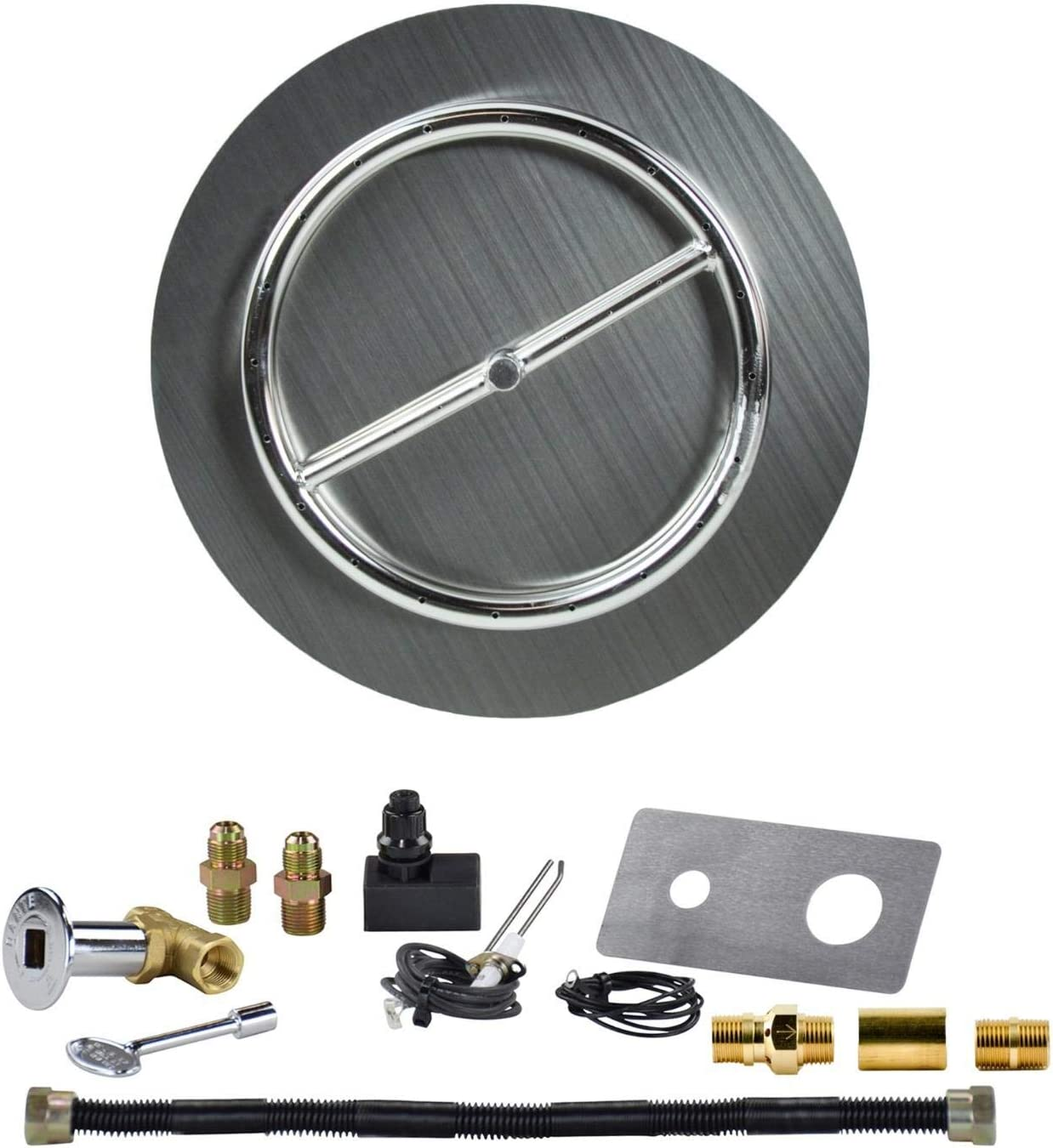 The Original 18 Stainless Steel Burner Pan with 12 Stainless Steel Ring and Complete Spark Ignition Fire Pit Kit for 20 lb Portable LP Tanks Dreffco