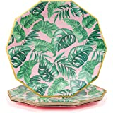 Coterie Tropical Paper Plates - Cute Leaf Plates For Summer Party, Kids Birthday, Luau Party, Birthday Party - Tropical Party