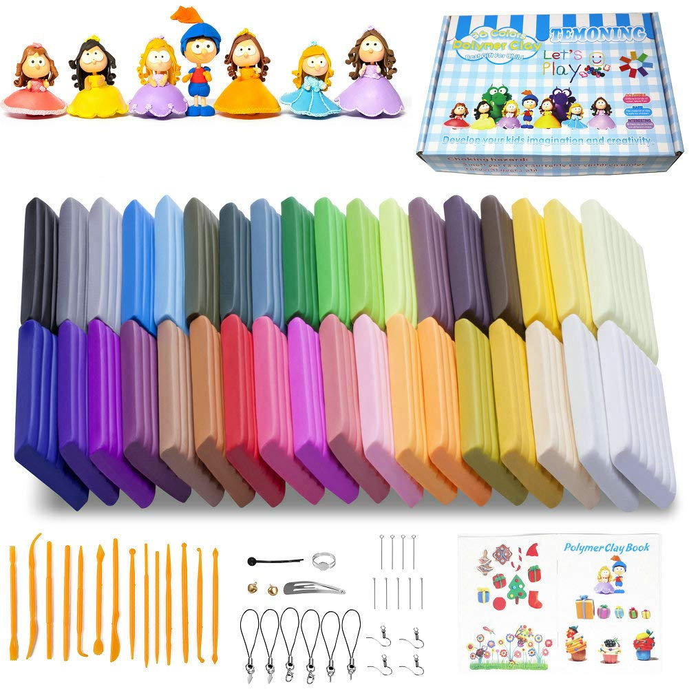 Polymer Clay, 36 Colors Oven Bake Clay with Models Creations Book, Modelling Clay Soft and Nontoxic DIY Plastic Tools and Accessories (36)