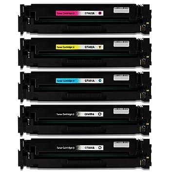 5 tóner Compatible con HP cf400 a cf401 a cf402 a cf403 a ...