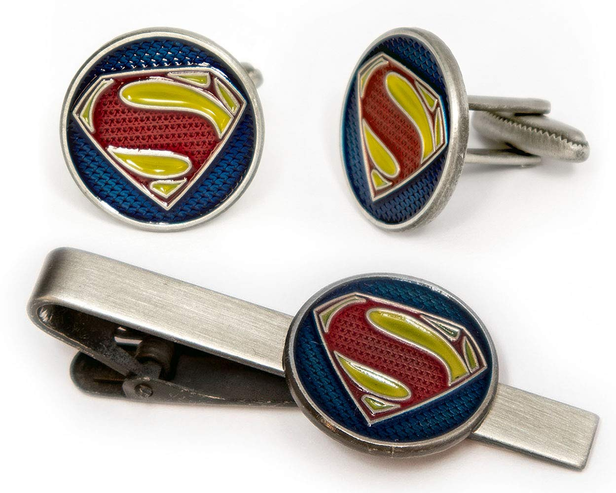 SharedImagination Superman Tie Clip, Krypton Cufflinks, DC Comics Batman vs Superman Tie Tack Jewelry, Nightwing Cuff Links Link Wedding Party Gift, Young Justice League Avengers Groomsmen Gifts
