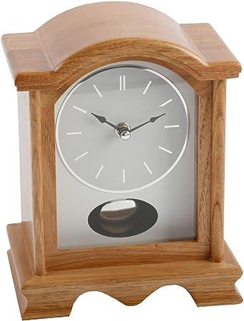 Watching Clocks Orologio A Pendolo Da Tavolo Con Cassa Di Legno Finitura In Quercia Amazon It Sport E Tempo Libero