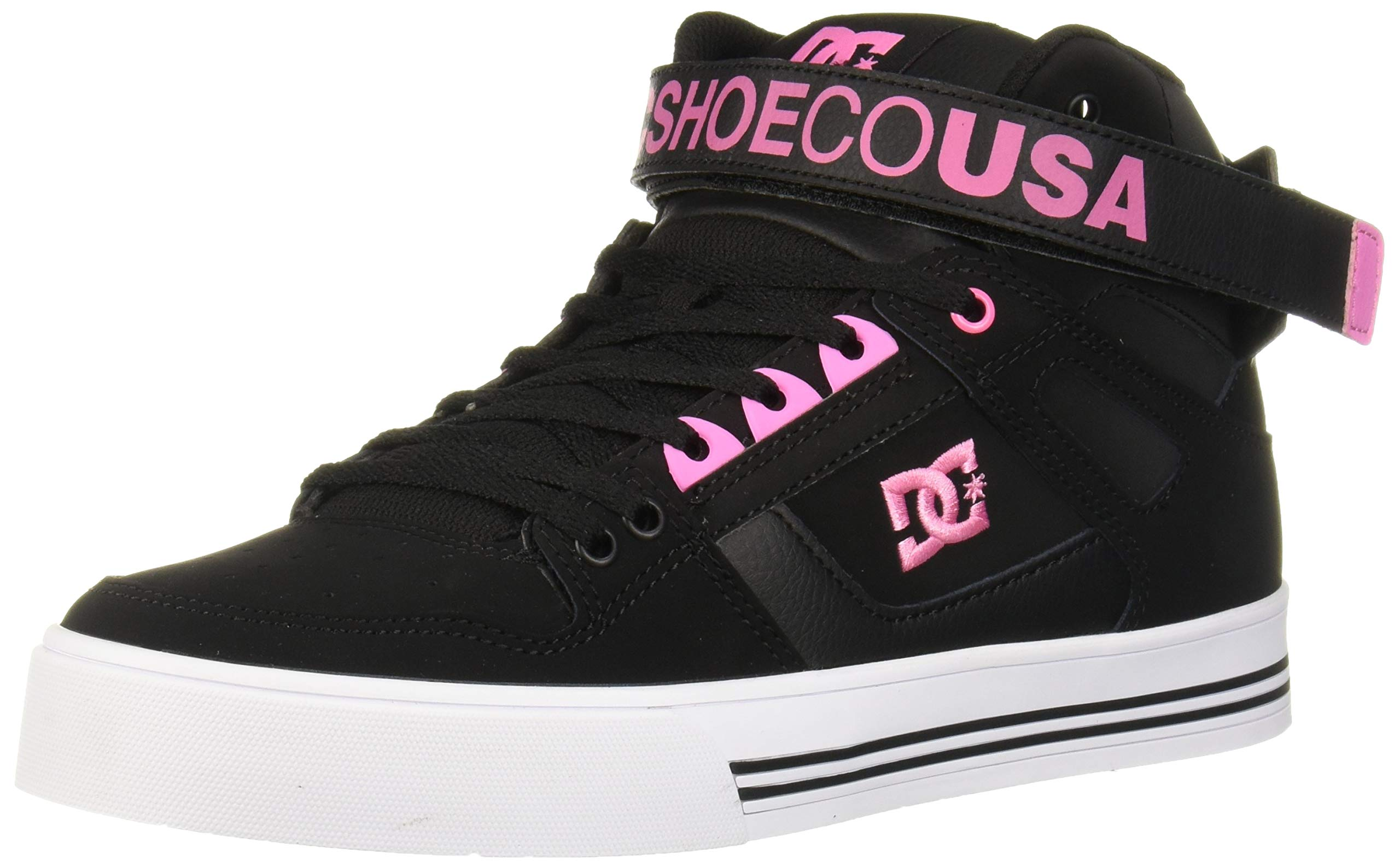 DC Women's Pure HIGH-TOP V Skate Shoe, Black/Pink, 6 M US by DC