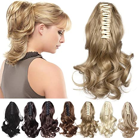Claw Ponytail Extension Short Jaw Ponytails Pony Tail Hairpiece 145g Thick Clip In Hair Extensions Real Natural As Human Synthetic Fibre For Women 12 Inch Curly Ash Blonde Amazon Ca Beauty