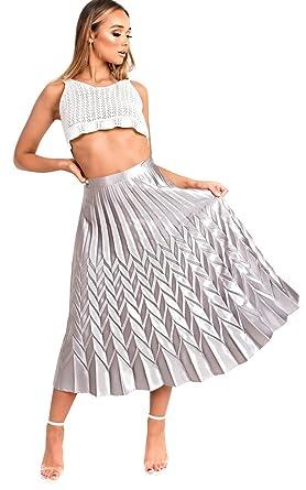 Ikrush Womens Gabbana Metallic Pleated Midi Skirt Silver Amazon Co