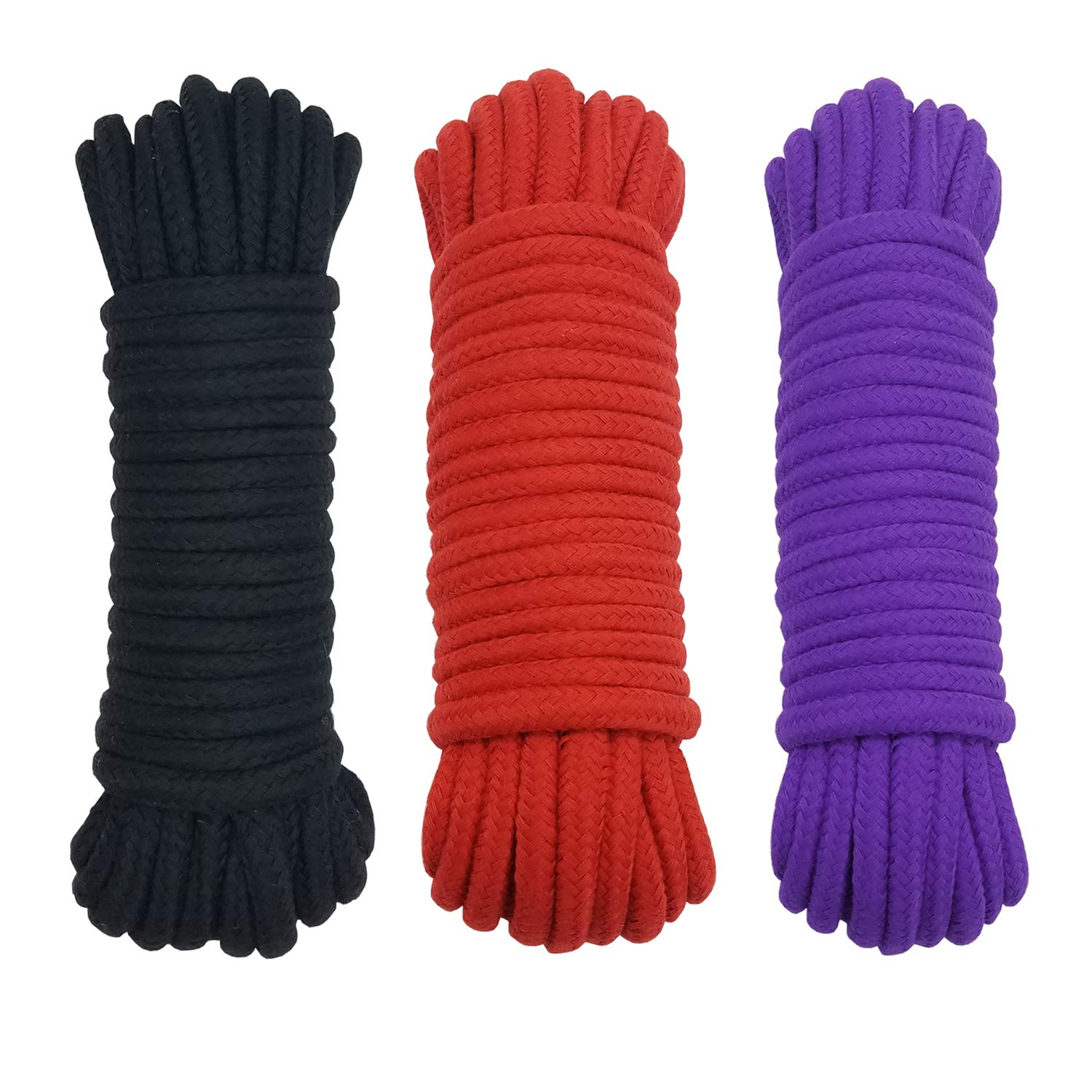 Ldoux 3PCS Soft Cotton Ropes Strong Twisted Braided 30 Meters Long 10mm Diameter, Multi-use Thick Ties Cord for DIY Home Furniture Crafts Handmade Decorations, Black Red Purple