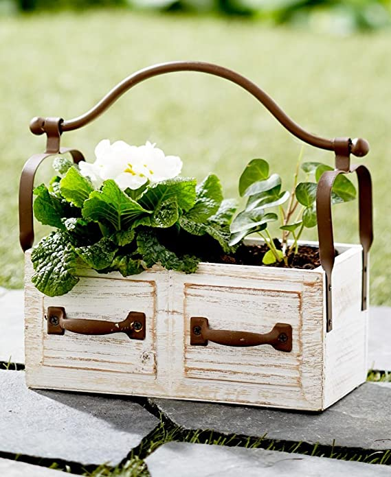 Amazon com: Vintage Wooden Planter Box with Iron Handle  Distressed