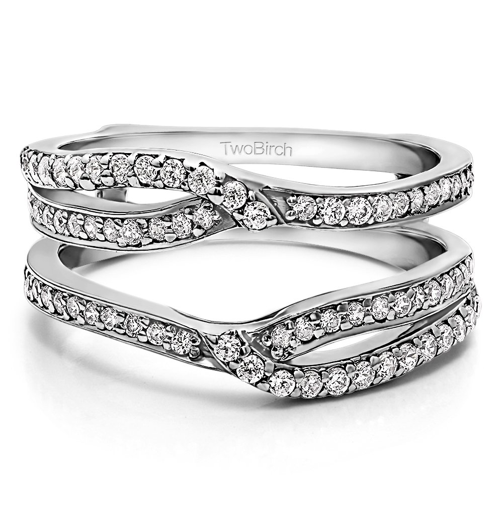 TwoBirch Sterling Silver Infinity Wedding Ring Guard Enhancer Cubic Zirconia (0.39 ct. tw.)