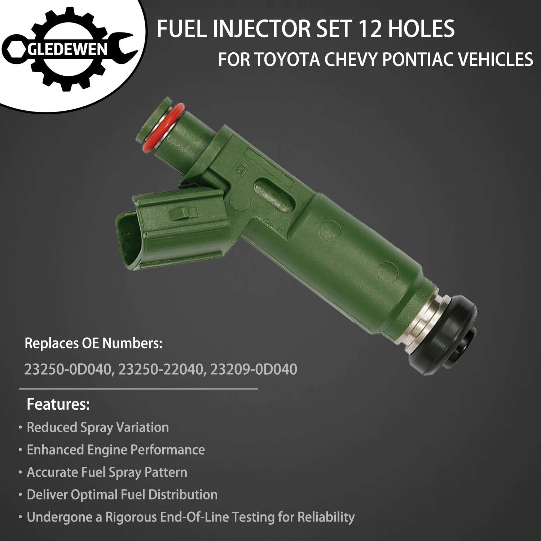 1.8L L4 Gas DOHC 03-06 Pontiac Vibe Replace# 23250-0D040 Fuel Injector 12 Holes 4Pcs for 2000-2005 Toyota Celica MR2 Spyder 2000-2004 Corolla 03-06 Matrix 00-02 Chevy Prizm 23250-22040 23209