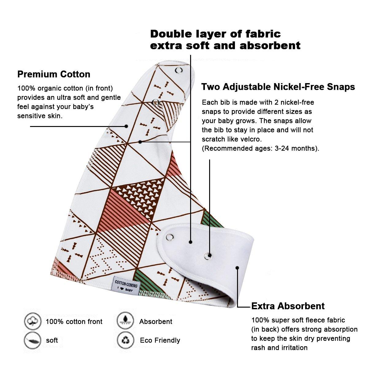 Cotton Coming bandana bavoir b/éb/é garcon et fille 8 pack,doux coton hydrophile bavoirs bandanas