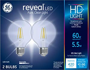 GE Lighting 31858 Clear Finish Light Bulb Dimmable LED Reveal HD G25 Decorative Globe 5.5 (60-Watt Replacement), 420-Lumen Medium Base, 2-Pack,