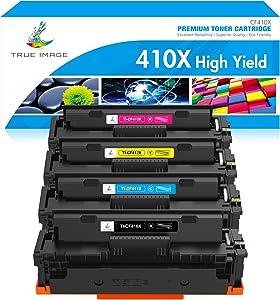TRUE IMAGE Compatible Toner Cartridge Replacement for HP 410X CF410X CF411X CF412X CF413X to use with Color Laserjet Pro MFP M477fdw M477fdn M477fnw Pro M452dn M452nw M452dw Printer Toner Ink (4 Pack)