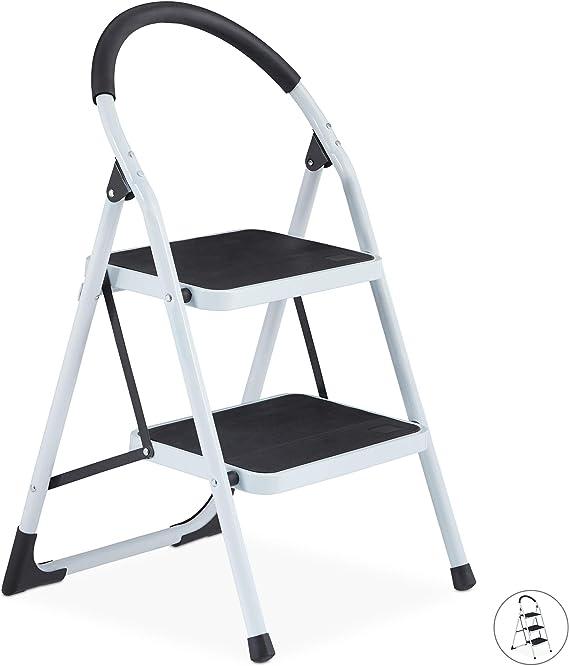 Relaxdays Escalera Plegable Antideslizante con Arco de Seguridad, 150 kg, 2 Peldaños, Acero, Blanco y Negro: Amazon.es: Hogar