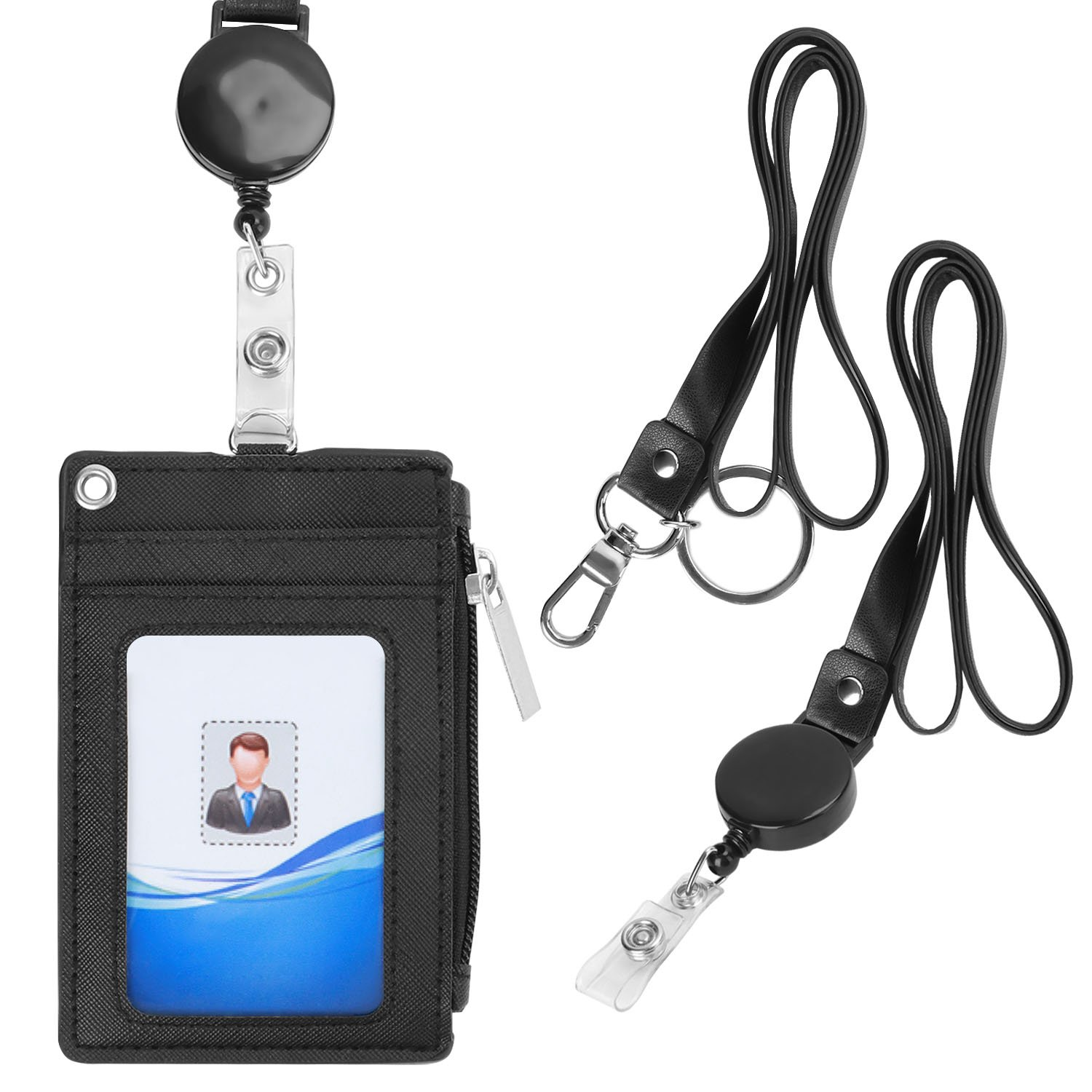Badge Holder with Lanyards, HQD PU Leather ID Badge Card Holder Wallet with 5 Slots, 2 Neck Lanyards(1 retractable), 1 Side RFID Blocking Zipper Pocket - Black/Pilot certification/School ID/Offices ID