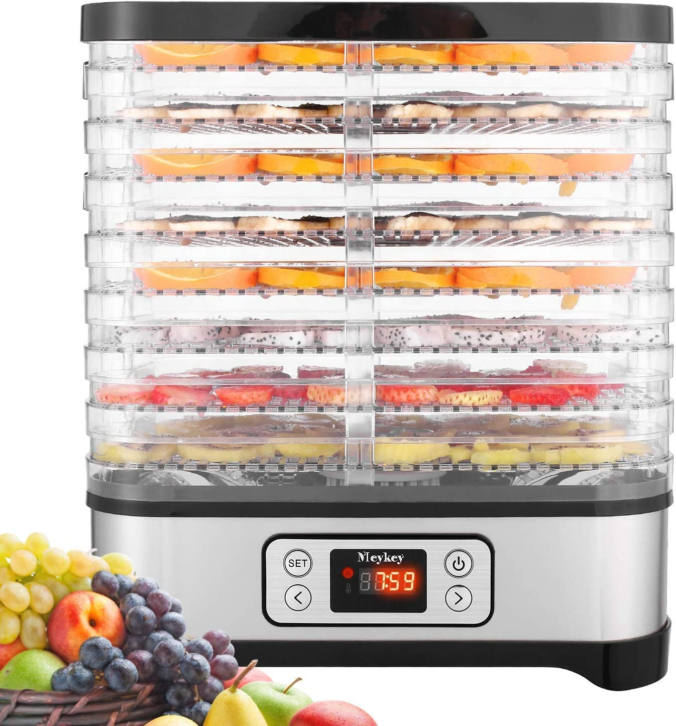 Food Dehydrator Machine Jerky with Timer, 8-Tray, 400 Watt,for Beef Jerky, Fruit, Vegetable,Temperature Control (95º-158ºF)