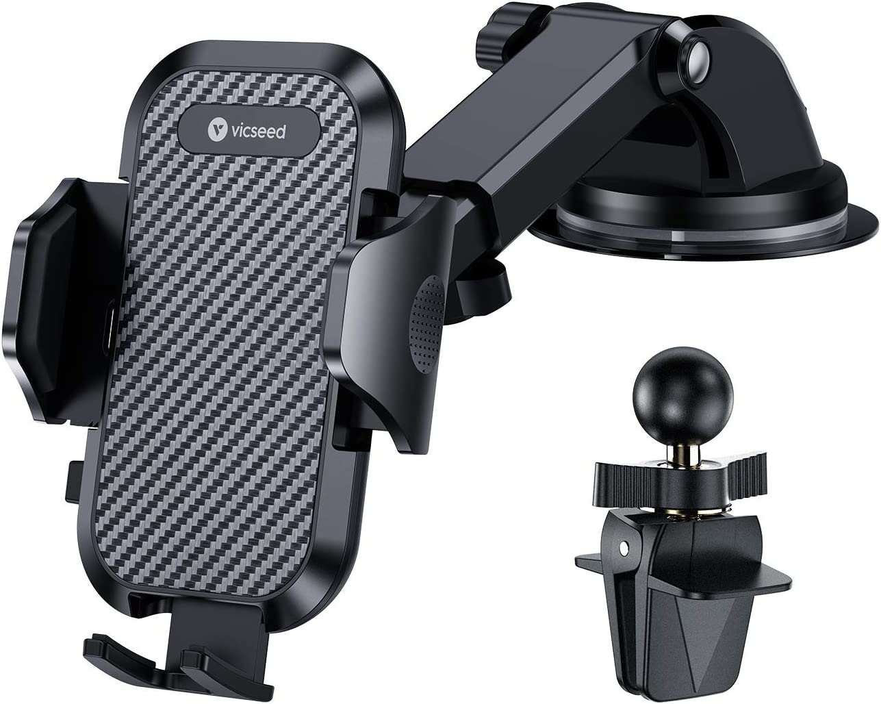 VICSEED Car Phone Mount Car Cell Phone Holder for Car Dashboard Windshield Adjustable Long Arm Strong Suction Universal Cell Phone Car Mount Fit for iPhone 11 Pro X XS Max XR Samsung Galaxy S20 Note10