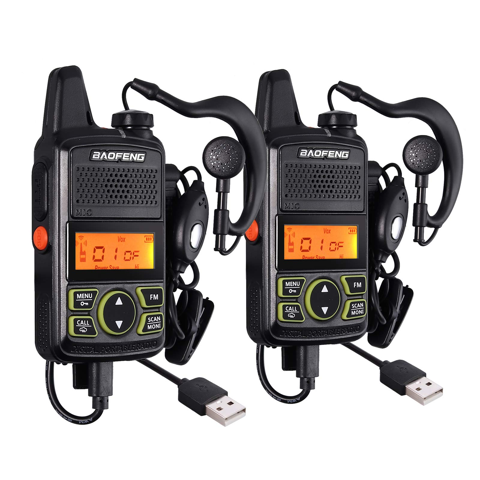CAMWAY 2 Packs Mini Walkie Talkies T2 USB Rechargeable Long Range Two-Way Radios with Earpiece UHF 400-470Mhz Handle Portable for Family, Home, Cruise, Ship, Camping, Hiking