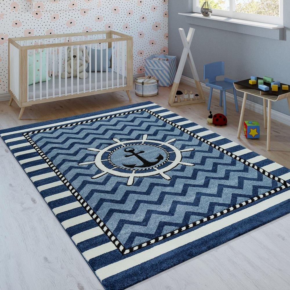 Paco Home Kinderteppich Indigo Blau Weiß Maritim Trend 3D Matrosen Design Kurzflor, Grösse:120x170 cm