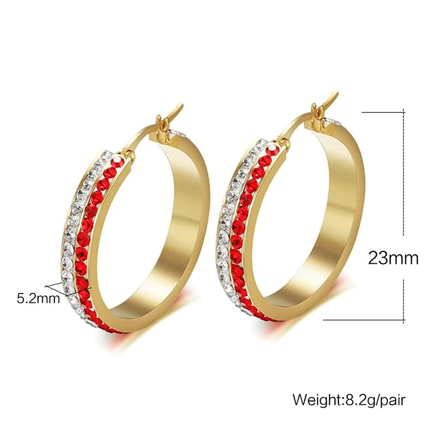 Epinki Women Stainless Steel Earrings Red White 2 Row Cubic Zirconia Round Circle 23x5.2MM Earrings
