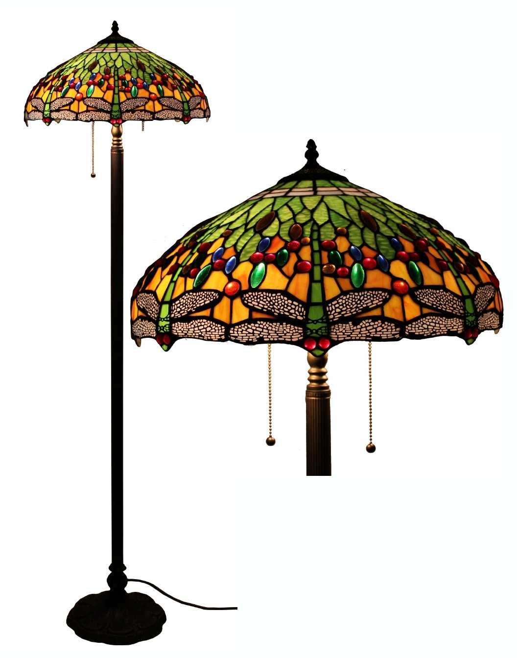 Tiffany Style Dragonfly Green Floor Lamp, 64 Inch by 18 Inch by Amora Lighting