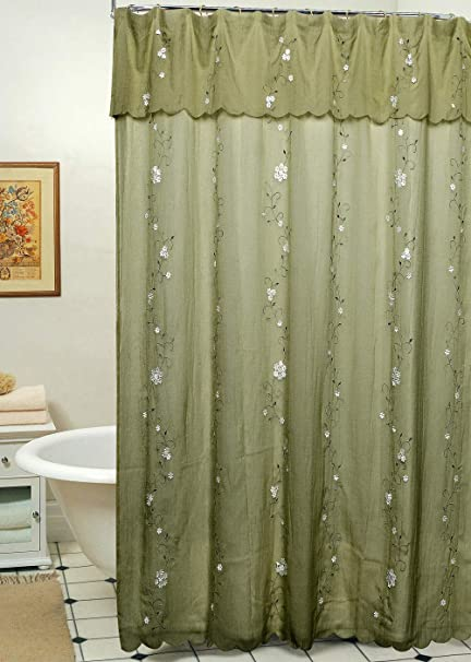 Creative Linens Daisy Embroidered Floral Fabric Shower Curtain Sage Green