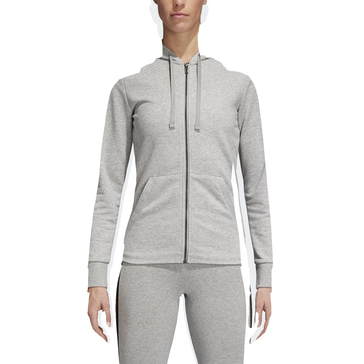 adidas Women's Essentials Linear Full Zip Hoodie Medium Grey Heather/High-Res Blue X-Small