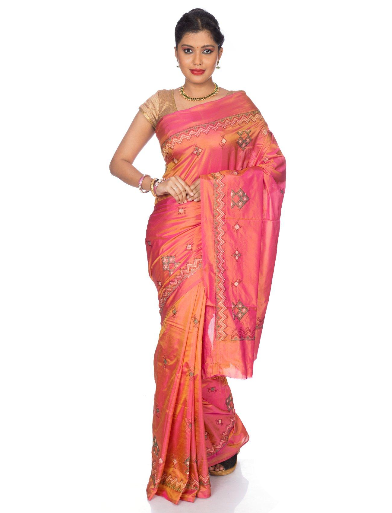 Mandakini Women's Tassar Silk Kasuti Saree (MK561_Orange Pink) by Mandakini (Image #5)