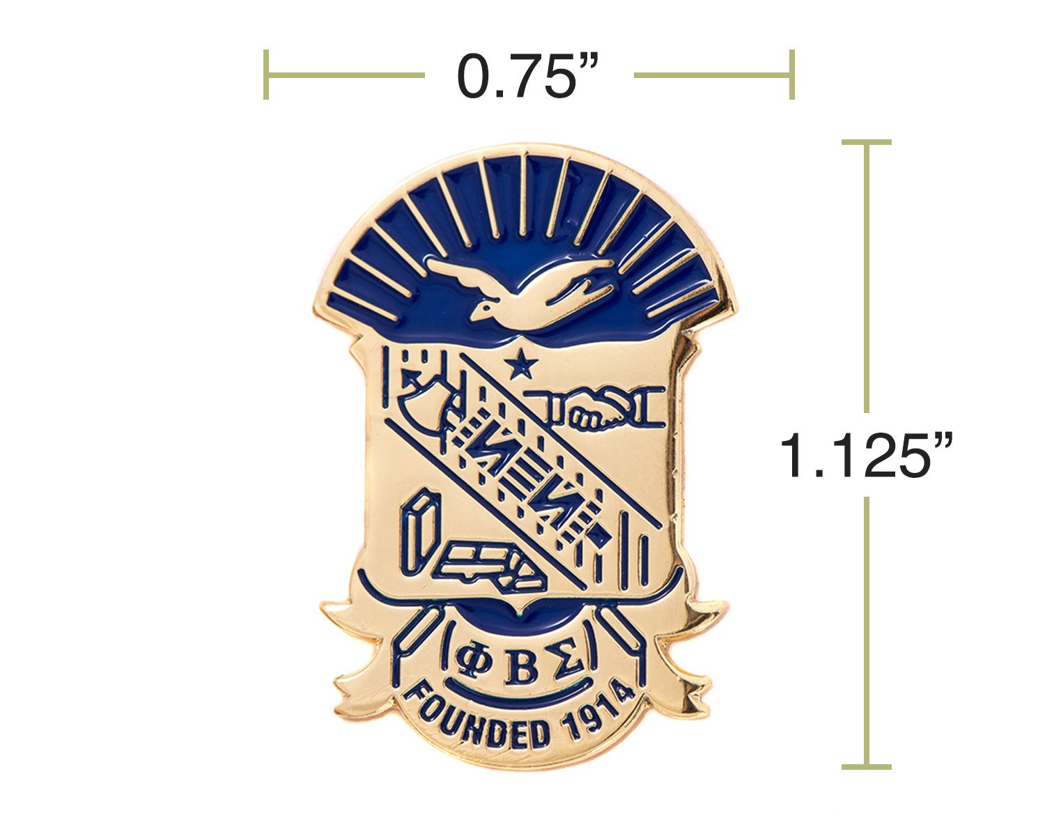 Desert Cactus Phi Beta Sigma Fraternity Crest Lapel Pin Enamel Greek Formal Wear Blazer Jacket (Gold Color Lapel Pin) by Desert Cactus (Image #2)