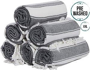 (Set of 6) 100% Turkish Cotton Bath Beach Hammam Towel Peshtemal Throw Fouta Blanket Set (Black)