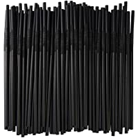 ALINK Flexible Black Plastic Drinking Straws, Extra Long Disposable Extendable Bendy Party Fancy Straws, Pack of 200