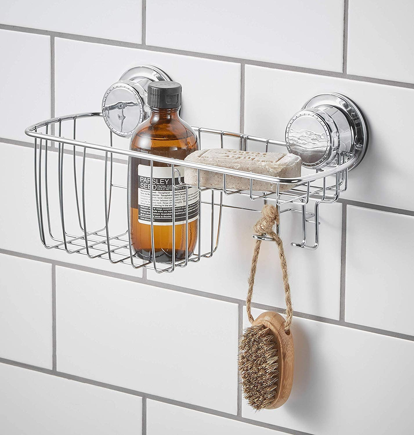 Rust Resistant Vacuum Shelf simplywire Shower Soap Bar and Sponge Holder Extra Strong Suction Soap Dish Chrome