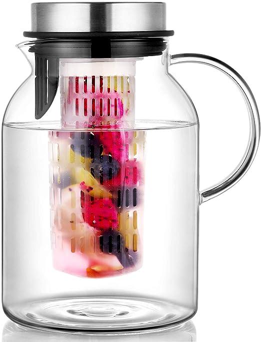 Amazon.com: Hiware jarra de agua con infusor de frutas de ...