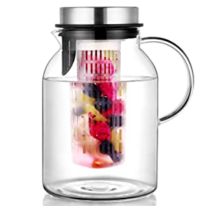 Hiware Glass Fruit Infuser Water Pitcher, High Heat Resistance Infusion Pitcher for Hot/Cold Water, Flavor-Infused Beverage & Iced Tea - 2 Qt