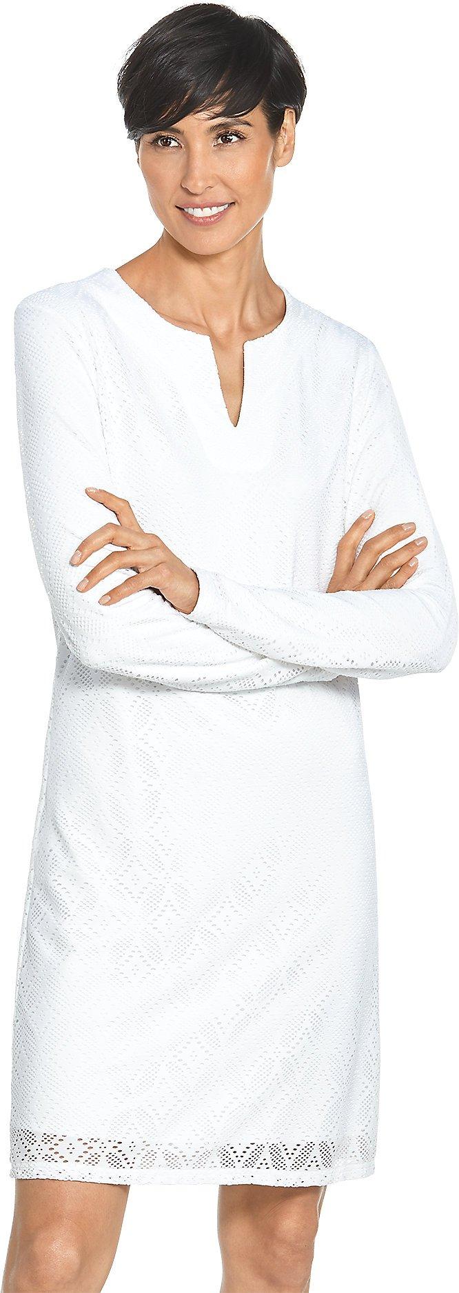 Coolibar UPF 50+ Women's Crochet Tunic - Sun Protective (Medium- Seashell White)
